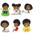 happy african-american girls learn and do vector image vector image