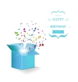 Happy Birthday Box with Confetti Surprise vector image vector image