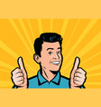 happy businessman keeps his thumbs up retro comic vector image vector image