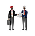 indian bearded businessmen sign a contract vector image vector image