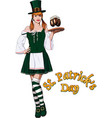 irish waitress with beer vector image vector image