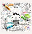 Lightbulb ideas concept doodles icons set vector image vector image