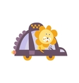 Lion Taxi Driver Stylized Fantastic vector image