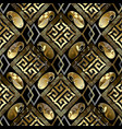 luxury geometric seamless pattern black vector image