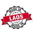 made in laos round seal vector image vector image