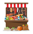 market store interior with goods vector image vector image