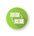 money exchange green flat design long shadow vector image