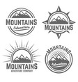 mountains four monochrome vintage emblems vector image