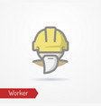 old worker in helmet icon vector image