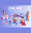 People shopping online cartoon concept