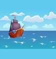 pirate wooden ship in ocean advertising of vector image
