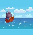 pirate wooden ship in ocean advertising vector image vector image