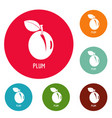 plum icons circle set vector image vector image