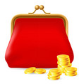 red purse with coins on white background for vector image vector image
