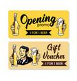 retro beer gift voucher vector image