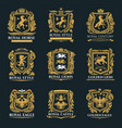 royal heraldry emblems heraldic lion and horse vector image vector image