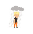 sad boy standing under stormy rainy clouds vector image