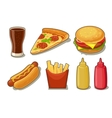 Set fast food icon Glass of cola hamburger vector image vector image