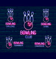 set neon logos in pink-blue colors vector image