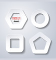 set of paper cut geometric figures on white vector image vector image