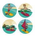 set of water sports cartoons vector image vector image