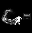silhouette of a football player soccer with ball vector image