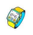 smart watch with button on white backgrou vector image