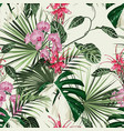 tropical orchid protea flowers seamless pattern vector image vector image