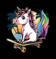 unicorns sitting on skateboards on beach vector image vector image