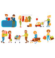 various people shopping in a mall set smiling vector image vector image