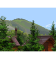 wooden houses in the firs mountains vector image vector image