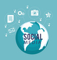 world planet with social media icon vector image vector image