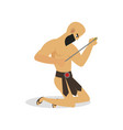 young man gladiator is beaten a bow metal arrow vector image vector image