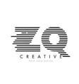 zq z q zebra letter logo design with black and vector image