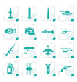 stylized simple weapon arms and war icons vector image
