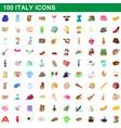 100 italy icons set cartoon style