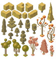 3d isometric autumn plants trees bushes vector image vector image