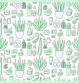 aloe vera cosmetic products flat seamless pattern vector image