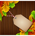autumn leaves sale tag on wooden background vector image vector image