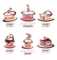 bakery pastry confectionery cake dessert vector image vector image
