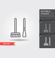 brooms line icon with editable stroke with shadow vector image