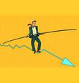 businessman tightrope walker vector image