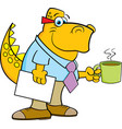 cartoon dinosaur holding a coffee cup vector image