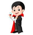 cartoon dracula with glass of blood vector image vector image