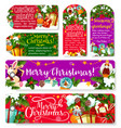 christmas tag and banner of winter holiday season vector image