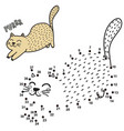 connect the dots and draw a cute purring cat vector image