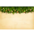 Decorated Christmas tree branches on a old paper vector image vector image