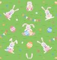 easter seamless pattern easter cartoon bunnies vector image vector image