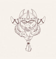 face of bearded viking wearing horned helmet hand vector image
