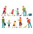 family housework parents and kids clean up house vector image vector image